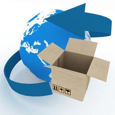 3d cardboard box and globe on white background  Worldwide shipping concept   photo