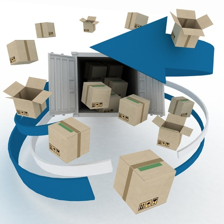 goods: 3d cardboard boxes around  container on white background  Worldwide shipping concept