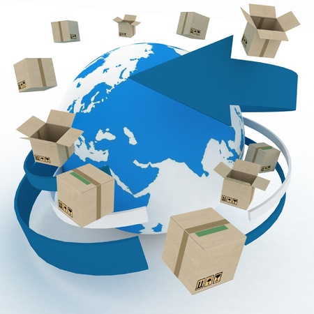 3d cardboard boxes around globe on white background  Worldwide shipping concept   photo