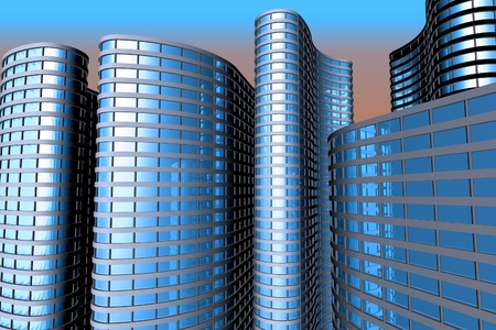 Skyscrapers 3d render  photo