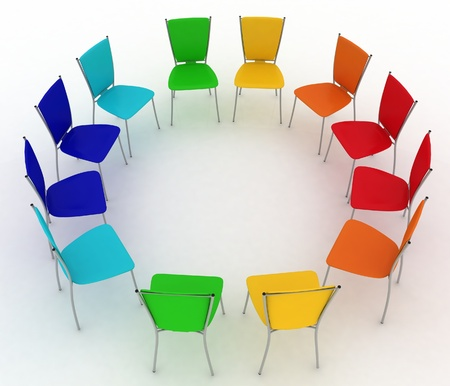 group of chairs costs round  photo