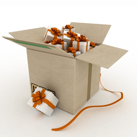 prosperous: Cardboard box with gifts on white background  3d  render illustration