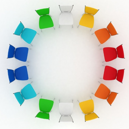 group of chairs costs round on white background photo