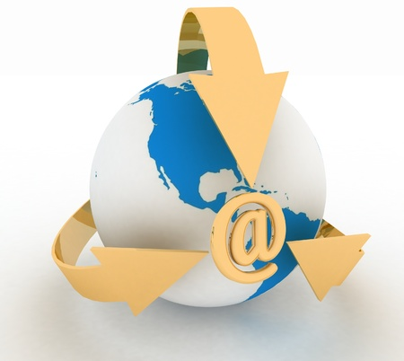 E-Mail Concept with Globe and Arrows, 3d render illustration Stock Illustration - 18666497