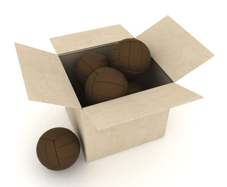 Sports volleyballs in a cardboard box  3d render illustration  illustration