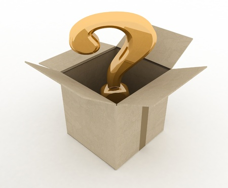 supposition: open box with question mark inside  3d illustration isolated on white background