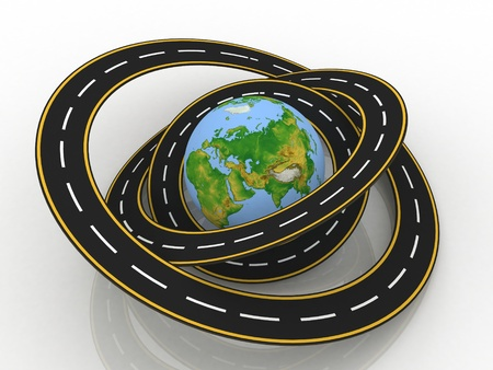 drive around the world: earth globe and roads around it  3d illustration