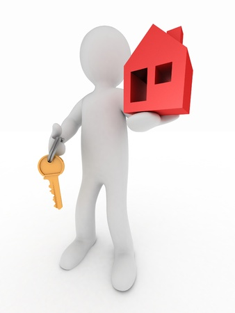 Presentation of new house. 3d man holds the key and the icon of the house. photo