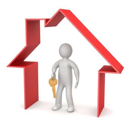 Presentation of new house. 3d man holds the key, and is within the red icon house photo