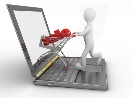 3d man and laptop online shopping on white background Stock Photo - 18851332