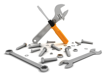 metalwork: set of tools, nuts and bolts for repair and maintenance