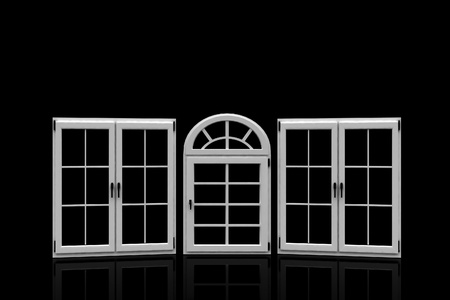 3d closed plastic windows on black background photo