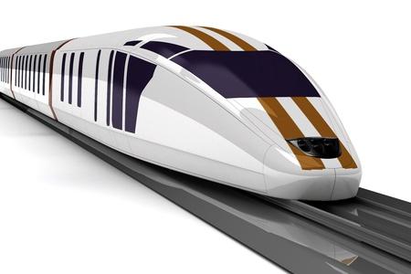 白い背景の上の高速鉄道 写真素材