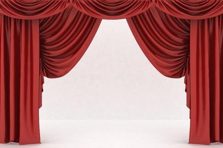 Open red theater curtain, background Standard-Bild