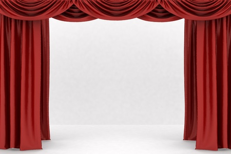 theater auditorium: Open red theater curtain, background Stock Photo