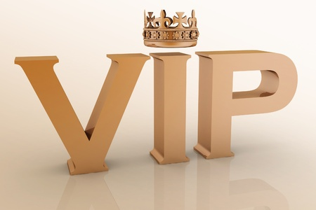 VIP abbreviation with a crown  3D text photo