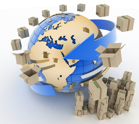 3d cardboard boxes around globe on white background. Worldwide shipping concept. photo