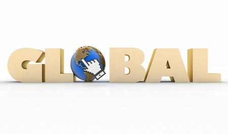 metadata: 3d illustration of word with a globe and  mouse cursor on a white background Stock Photo