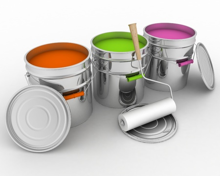 open buckets with a paint and rollers Stock Photo - 19603362