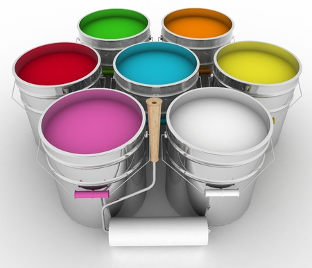 open buckets with a paint and rollers Stock Photo - 19603361