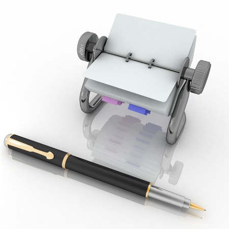 rolodex: Rotary card address and pen  3d render illustration isolated on white Stock Photo