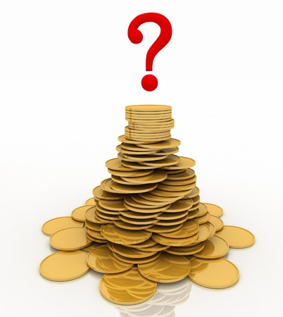 chinks: pile of gold chinks and question-mark  3d illustration isolated on the white background