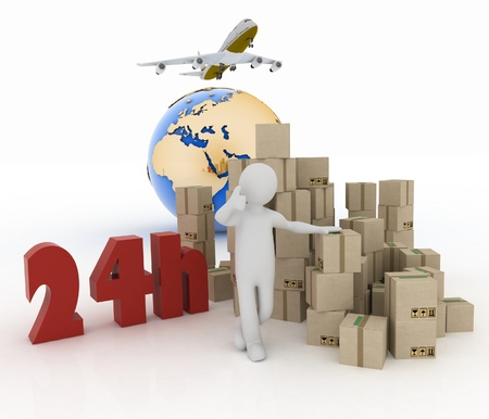 hrs:  A man advertises a parcel delivery service within 24 hours worldwide