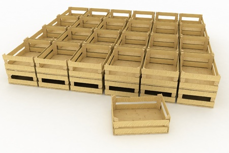 Empty wooden boxes  Containers for fruits and vegetables  Фото со стока