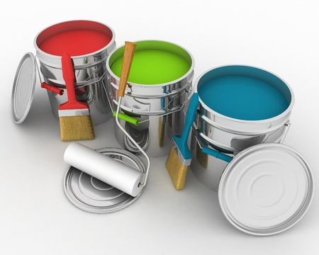 open buckets with a paint, brush and rollers photo