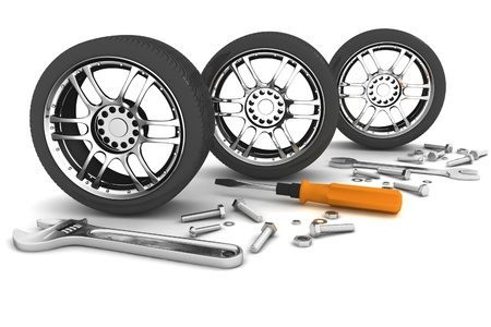 vulcanize: Wheel and Tools. Car service. Isolated 3D image  Stock Photo