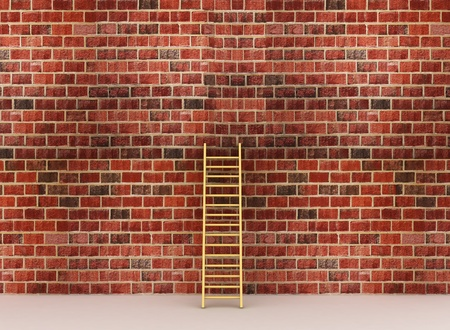ascends: 3d illustration of a ladder against near old wall