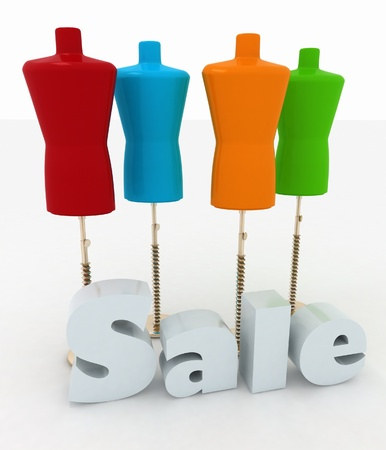 Sale for a clothing  3D illustrations on a white background illustration