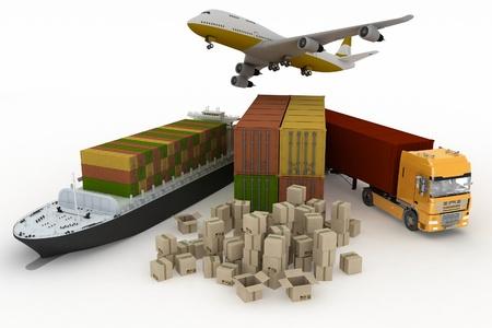 輸送の輸送のタイプは白地に負荷の 3 d 図です。