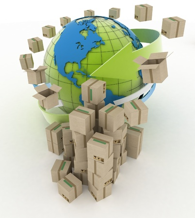 import export: 3d cardboard boxes around globe on white background  Worldwide shipping concept  Stock Photo