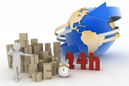 hrs: a man advertises service of delivery of parcels in the flow of 24 hours