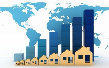Diagram van de groei van de vastgoedprijzen in de wereld Stockfoto - 20017233