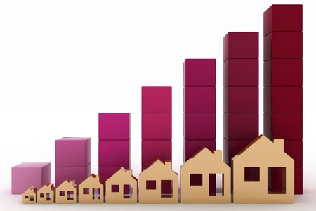 investing: Diagram of growth in real estate prices Stock Photo