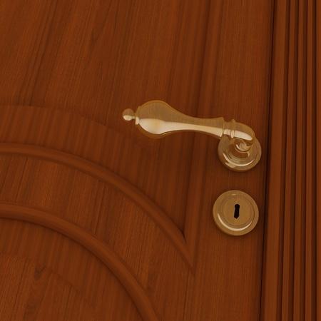door knob: beautiful metal handle and keyhole on a wooden door