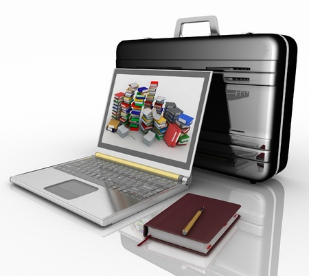silvery laptop, notepad and pen with black brief-case  on white background photo