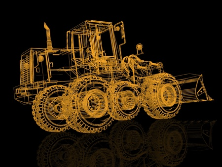3d model bulldozer on black photo