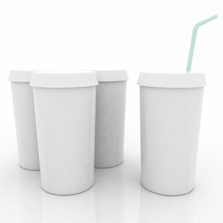 white plastic fast food glasses with blue tubule on a white background photo