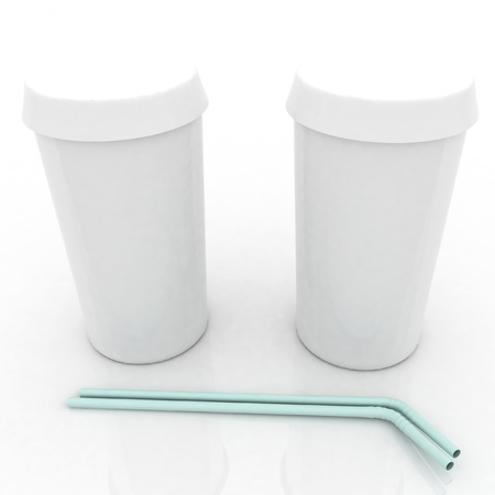 Two white plastic fast food glasses with blue tubule on a white background photo