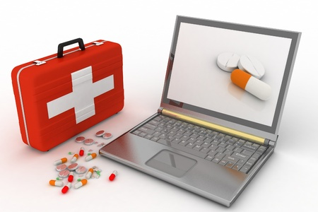 computer repairing: Pills for a laptop, the concept of diagnosis and repair of computers Stock Photo
