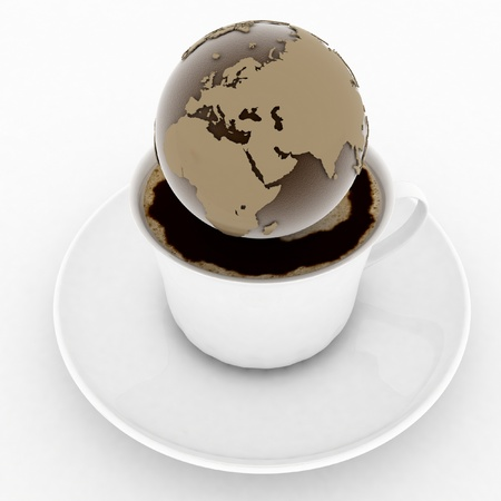 coffee cup with a globe on a white background photo