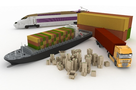 types of transport of transporting are loads. 3d render illustration on white background illustration