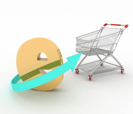 decoratiion: e-commerce sign with  a trolley on a white  3d render illustration on white background