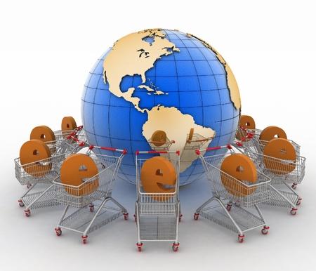 e-commerce teken in een karretje ronde bol op een witte