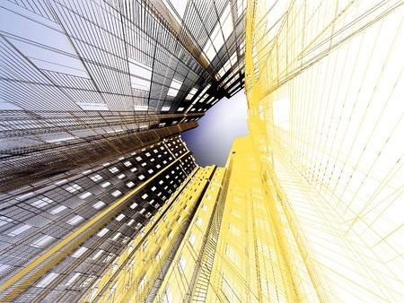 perspectiva lineal: 3d fondo abstracto arquitectura moderna Foto de archivo