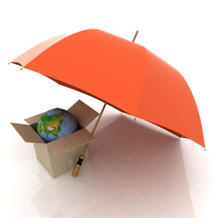 protect earth: Umbrella Protect Earth in box isolated on white background