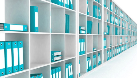 book racks: office closet, isolated on a white background
